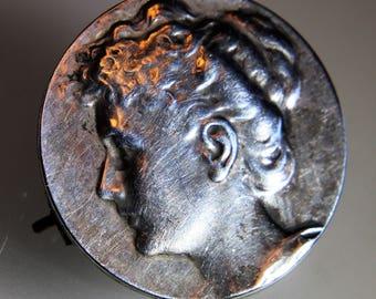 Antique French Art Nouveau Maiden Portrait 800 Silver brooch