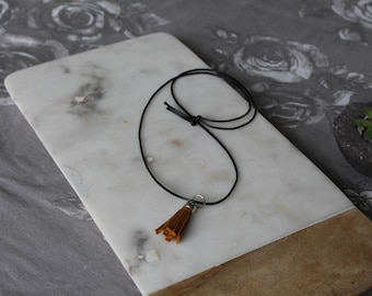 Recycled Leather Tassel Handmade Necklace