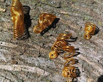 Egyptian Gold Loc Jewelry, Spiral Dreadlocks Jewelry