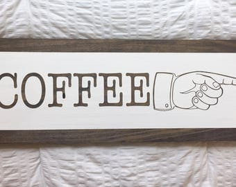 Retro Hand Wooden Coffee Sign