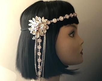 1920s headpiece/Gatsby headpiece/Art Deco/Wedding headpiece/Crystal headpiece/Rhinestone headpiece/hair jewelry/wedding accessories/Razz