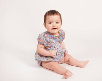 POSY Handmade Liberty Print SHORT Sleeve Playsuit Babies Toddlers
