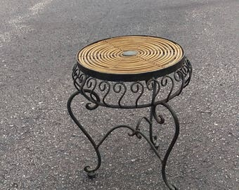 Vintage plant stand stool,wire metal stool,raffia straw stool stand