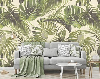 Palm Leaves Wall Mural, Tropical Leaves Wallpaper, Wall décor, Wall decal, Nursery and room wall mural, Wall art