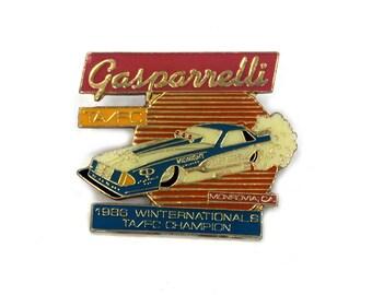 """Vintage 1986 Lou Gasparrelli  """"Gasparreli Winter Nationals TA FC Drag Racing Champion Enamel Pin"""