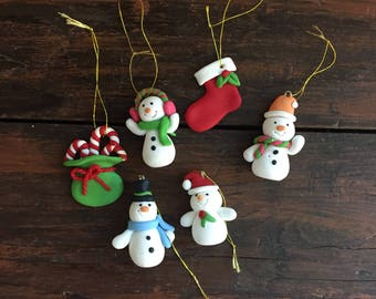 Vintage Clay Christmas Ornaments / Handmade / Snowmen and Candy Canes and Christmas Stocking