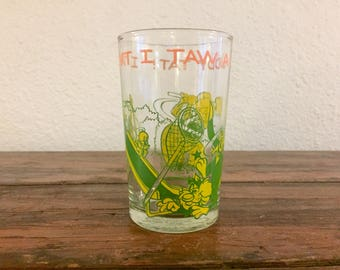 Sylvester and Tweety Bird Juice Glass / Vintage Drinkware / Welch's Collectible Glass / Looney Toons / Warner Brothers / 1974