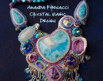 LARIMAR, MOONSTONE, AMETHYST Bead embroidered bib necklace with fringe