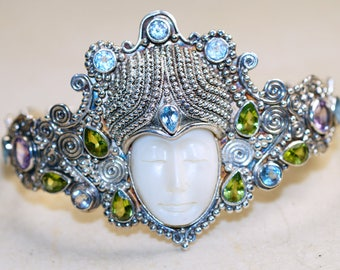 Fancy Carved Bone Face Goddess with Blue Topaz, Peridot and Amethyst Cuff  set in 925 Sterling Silver Bracelet