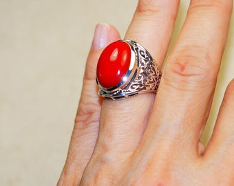 Trendy Red Coral  & 925 Sterling Silver Ring size 6.25 by Silver Trend