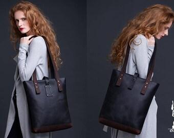 Black Brown Leather Tote Bag / Women Handbag / Genuine Leather Shopper Bag / Leather Handbag / Leather Ladies Shoulder Bag