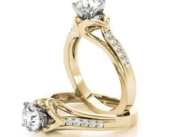 Forever Brilliant Moissanite Swan Cathedral Diamond Engagement Ring in Yellow Gold
