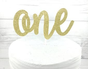 ON SALE One Gold Cake Topper, 1 Gold Cake Topper, Age Cake Topper, Gold Cake Topper, Glitter Cake Topper, 1st Birthday, Pink and Gold OneGol
