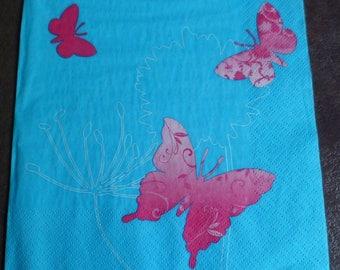 4 dancing butterflies turquoise paper napkins, napkin paper butterflies background turquoise