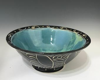 Large Salad Bowl or Pasta Bowl - Black and Turquoise Pottery Bowl - Handmade Salad Bowl - Porcelain Salad Bowl