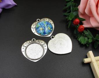 5pcs 25mm Round Silver Bezel Pendant Trays,1 Inch Circle DIY Photo Keepsakes-b2221-B