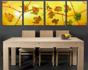 Large Art Landscape Painting, Large Wall Art Set, Leaf Art, Autumn Art, Fall Leaves Autumn Decor, Leaf Painting, Fall Painting Autumn Leaves