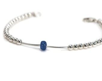 Sterling Silver Tanzanite Bracelet | 925 Silver Bracelet | Sterling Silver Bracelet | Silver Tube Bracelet | Silver Bead Bracelet