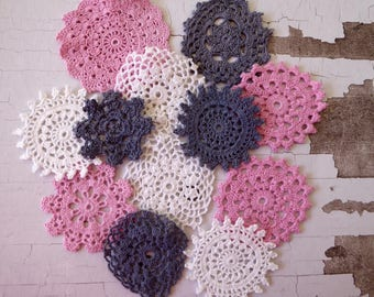 Grey, pink and white crochet medallions 12 hand dyed small vintage doilies