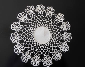 Vintage white linen and tatted doily
