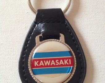 Kawasaki Motorcycle Keychain Black Leather Key Chain