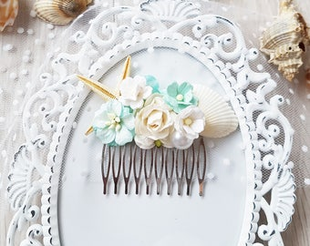 Wedding Sea Hair Comb, Sea shell comb, Turquoise comb, Turquoise sea hair comb, Sea shell flower Bridesmaids comb, Summer sea flower comb
