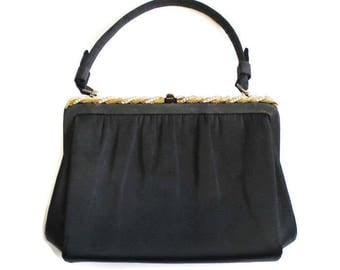 After Five Black Satin Evening Bag With Gold Metal Rope Trim And Rhinestones