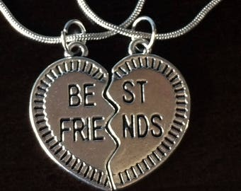 Best Friends Heart Silver Pendants