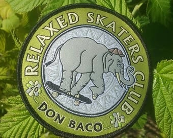 "Elephant iron-on patch ""Relaxed Skaters Club"""