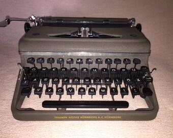 Vintage portable typewriter triumph perfect portable mechanical typewriter khaki