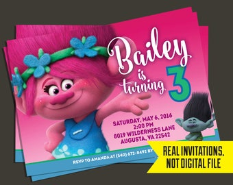 Trolls Invitation - Trolls Birthday Invitation