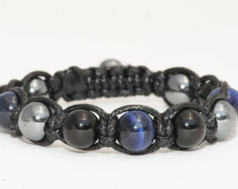 Blue Tiger eye stone bracelet / black/Hematite Agate