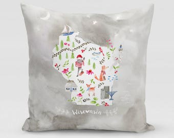 Wisconsin Collage Square Pillow   Home Decor   Studio Carrie   Gift