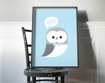 Blue hoot owl nursery print // baby boy art print in grey and light blue owl illustration // cute kids decor for bedroom.