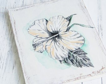 Hibiscus flower sketch, Print on wood, Wall sign, Wall decor, Botanical print, Wood signs, Shabby chic, Flowers gift, Tropical decor