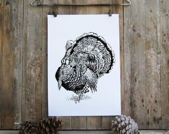 Thanksgiving Decor, Wild Turkey Poster, Turkey Sketch, Printable Wall Art, Kitchen Decor, Thanksgiving Sign, Thanksgiving Gift