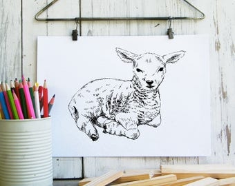 Lamb wall art, Lamb printable, Nursery wall Art, Nursery art, Kids room decor, Teen decor