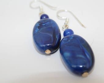 Blue Acrylic Bead Earrings