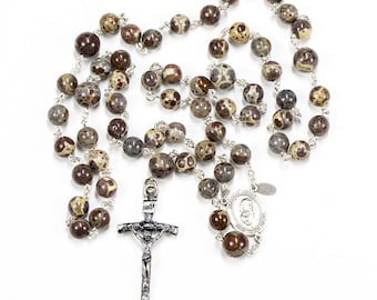 """Jasper Men's Rosary - Handmade, Catholic Man's Rosaries with Brown, Grey """"New"""" Jasper Stones, Sterling Silver Center and Simple Crucifix"""