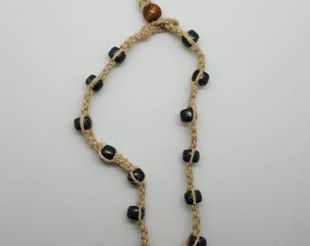 Beaded hemp anklet, bracelet  (HAN002)