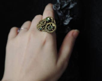 Steampunk bronze and green ring