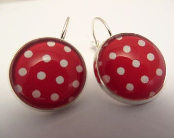 Earrings red and white polka dot