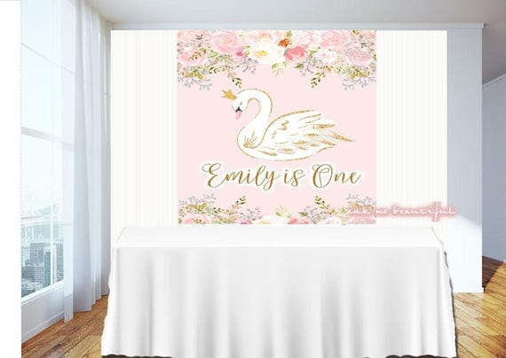 Well-liked PRINTABLE Swan, Dove, Birthday, Baby Shower, Candy Table Backdrop  VO39