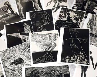Vintage engraving art greeting card set - Black and white art postcards - Black and white greeting cards - Vintage  blank folded cards