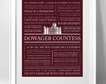 "DOWNTON ABBEY, ""Dowager Countess"" Typography Print"