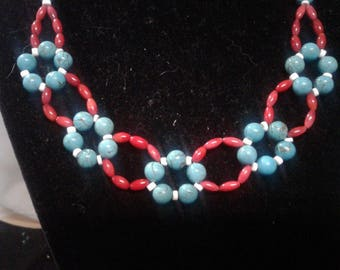 """18"""" Turquoise, Red Coral and White Shell Beaded Necklace, #472"""