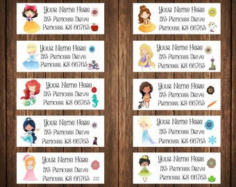 Disney Princess Address Labels, Disney Princesses, Mailing Labels