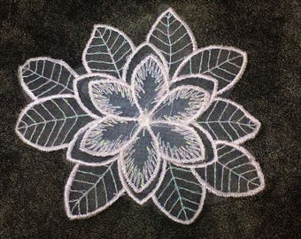 White Organza Glitter Flower Sew On Applique