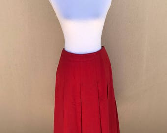 1970s Fletcher Jones candy apple RED double-box-pleat skirt 26W 26L