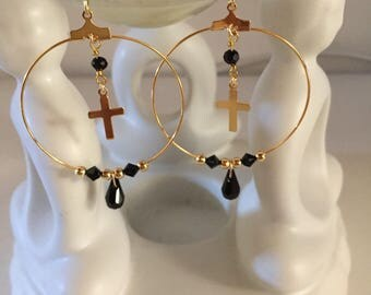 Earring gold gold filled cross swarovski pearls